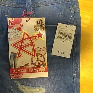 Almost Famous NWT Distressed Bermuda Shorts Size 5